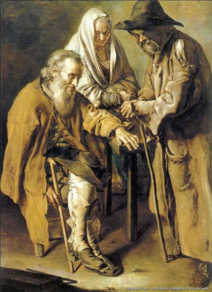"""Vecchiaia nell'Arte - G. Ceruti, """"Tre pitocchi"""", 1736, Barcellona, Museu Nacional d'Art de la Catalunya"""
