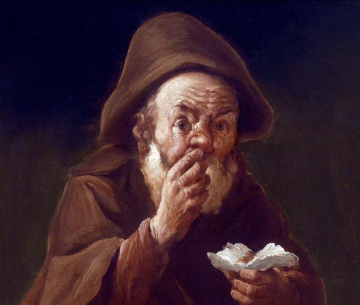 """Vecchiaia nell'Arte - A. Cifrondi, """"Vecchio che sniffa tabacco"""", Brescia, c. p."""