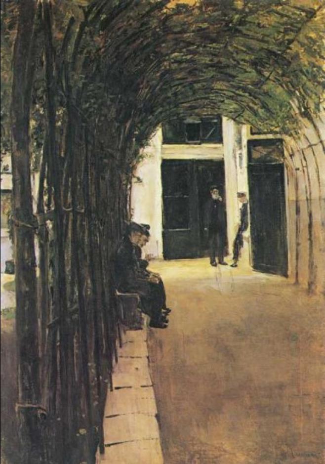 """Vecchiaia nell'Arte - M. Liebermann, """"L'ospizio"""", 1883, Stoccarda, Staatsgalerie"""