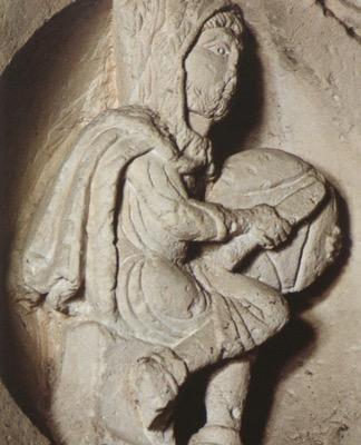 """Vecchiaia nell'arte - """"Mese di Gennaio"""", 1120, Vézelay, portale della cattedrale di Sainte Madaleine"""