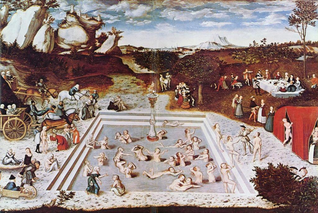 """Vecchiaia nell'ARte - L. Cranach, """"Fonte della giovinezza"""", 1546, Berlino, Gemäldegalerie"""