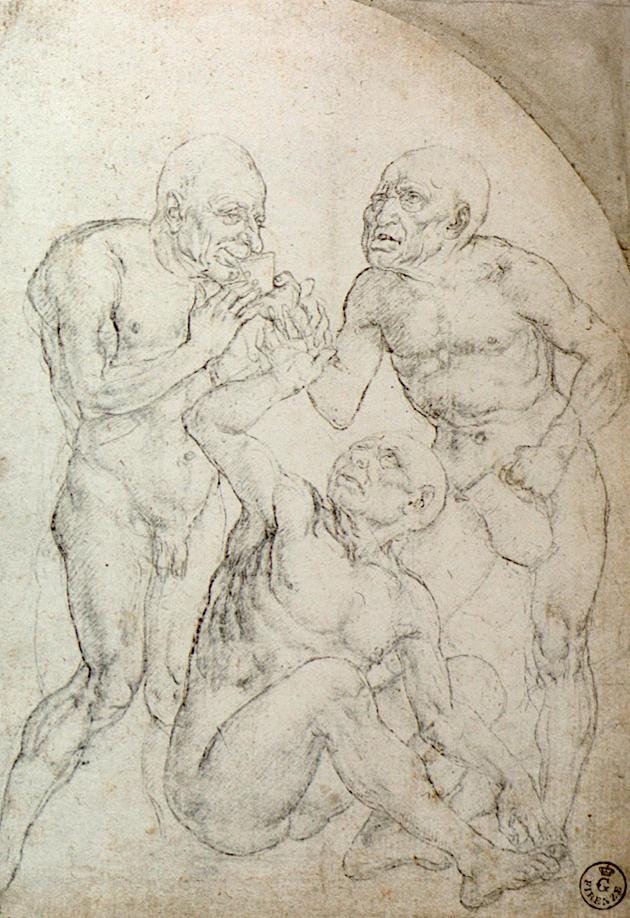 """Vecchiaia nell'Arte - A. Del Verrocchio, """"Tre vecchi nudi che bevono"""", 1470-80, Firenze, Uffizi, Gabinetto Disegni e Stampe"""