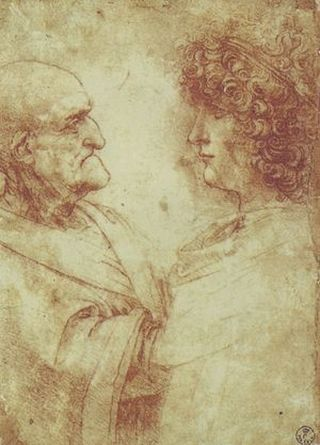 """Vecchiaia nell'Arte - L. Da Vinci, """"Busto di vecchio e di adolescente"""", 1507-8, Firenze, Uffizi, Gabinetto Disegni e Stampe"""
